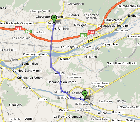 Distance from Bourgueil to Chinon: 16.5 km (10 miles)
